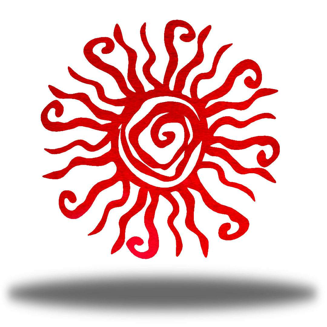 Red wall art decoration featuring a sun design