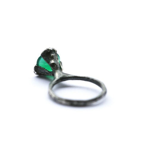 The cone ring - oxidized Silver with green Agate