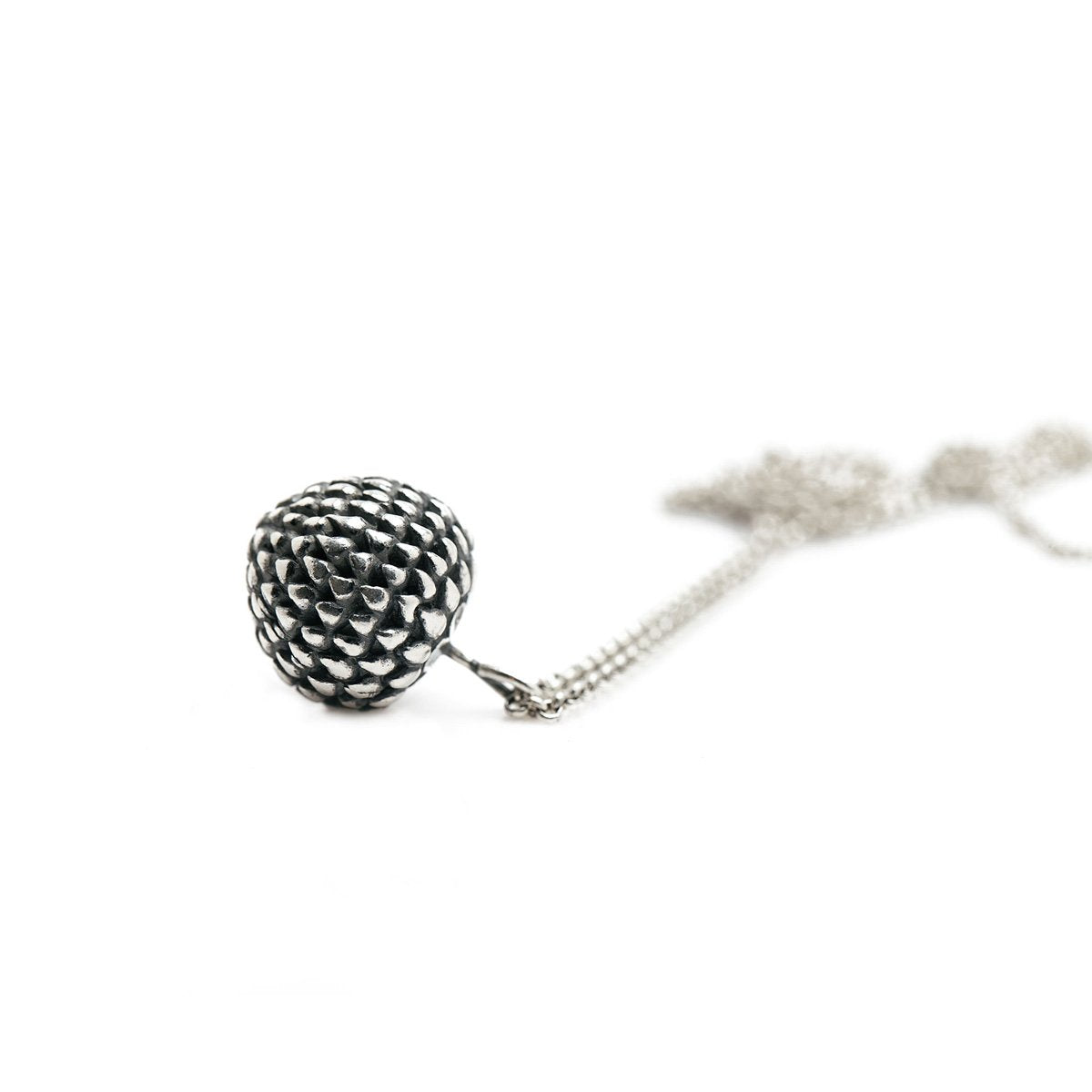 The chive flower necklace - oxidized Silver