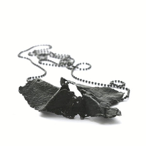 The tissue paper necklace - oxidized Silver