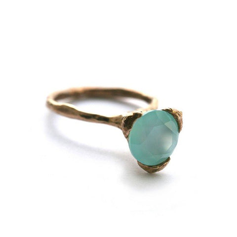 The cone ring - Bronze with aqua Chalcedony