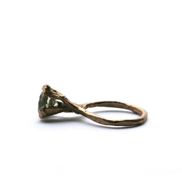 The cone ring - Bronze with Prasiolite/green Quartz