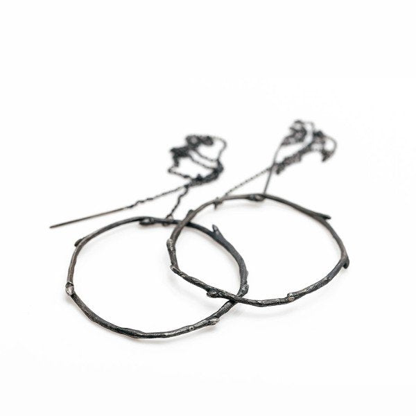The branch circle earrings - Oxidized Silver