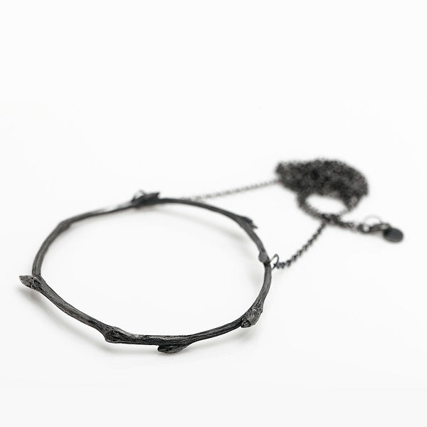 The branch necklace - Stainless Steel/Oxidized 925 Silver