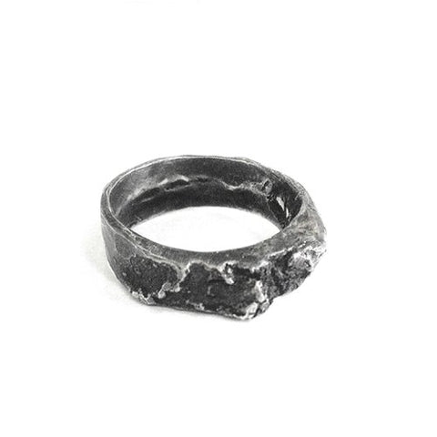 The birch ring - Heavy in oxidized Silver