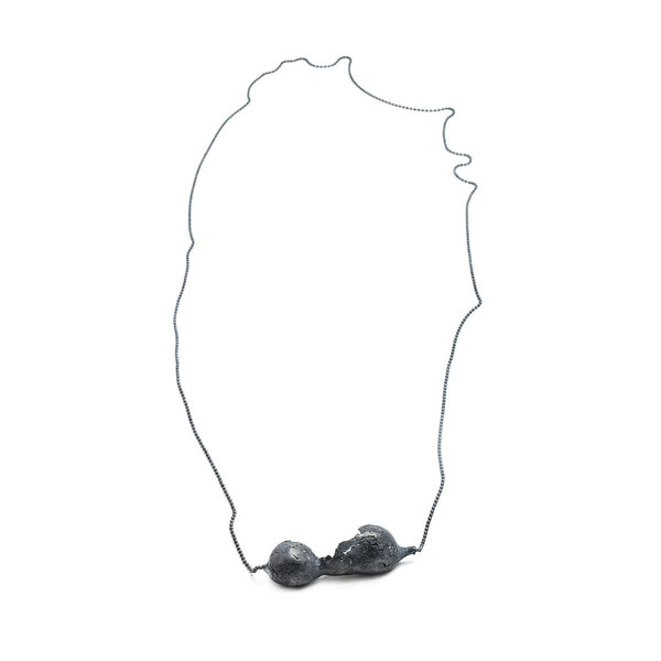 The birth cocoon necklace - oxidized Silver