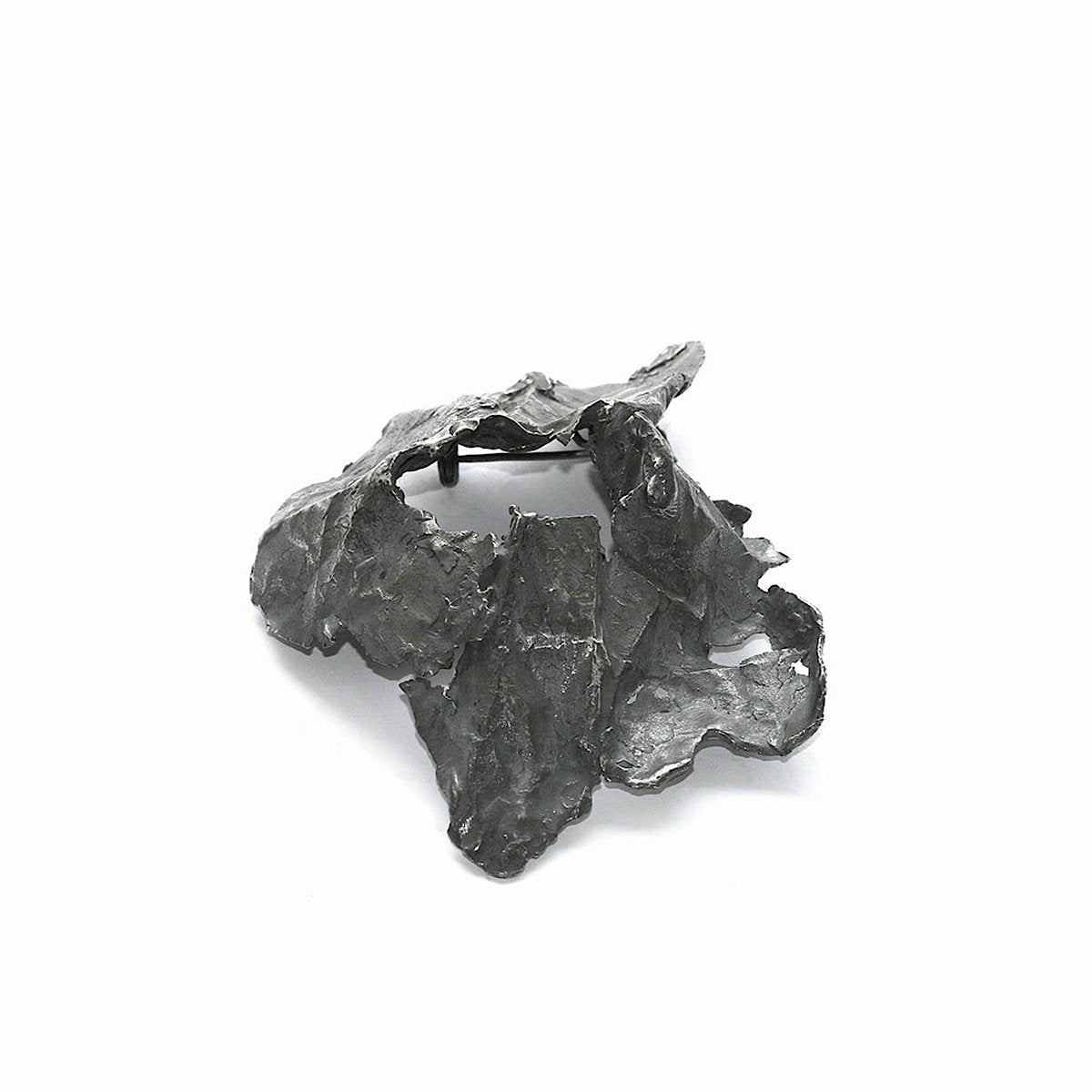 The volcano brooch - oxidized Silver