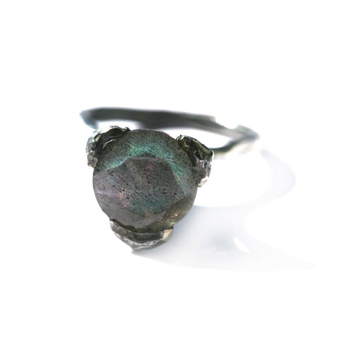 The cone ring - Oxidized Silver with natural Labradorite