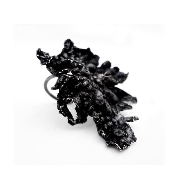 The lava ring - oxidized Silver