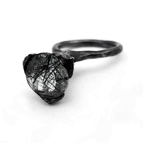 The cone ring - oxidized Silver with rutile Quartz