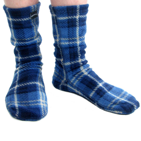 Polar Feet Fleece Socks in Blue Flannel Regular Sole