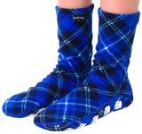 Kids' Nonskid Fleece Socks - Blue Argyle