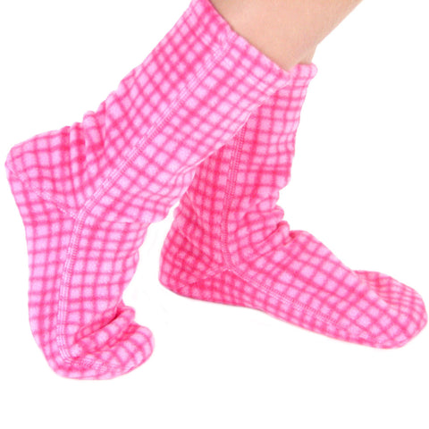 Polar Feet Kids Fleece Socks - Pink Gingham