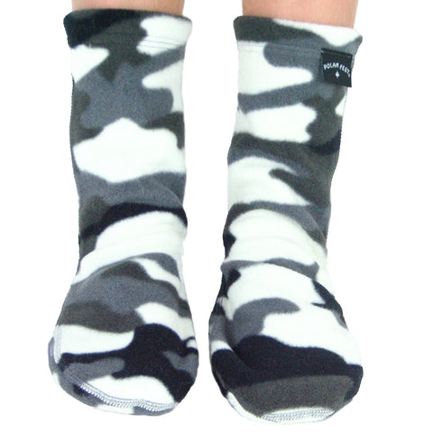 Polar Feet Kids Fleece Socks - Snow Camo