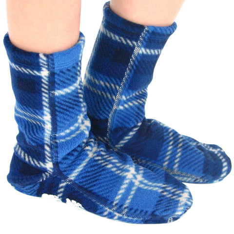 Polar Feet Kids Nonskid Fleece Socks - Blue Flannel