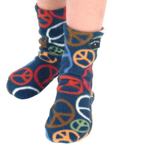 Polar Feet Kids Fleece Socks - Peace
