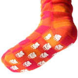 Polar Feet Fleece Socks in Raspberry Sunrise with Nonskid Sole