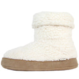 Polar Feet Women's Snugs Slippers in White Berber Left Side Folded Down