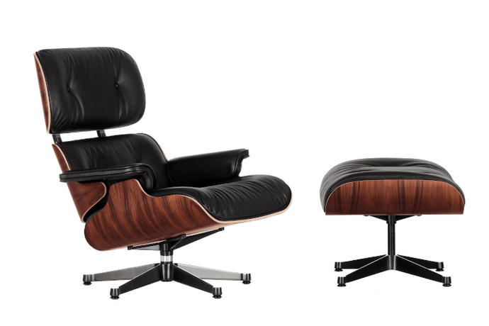 Eames Lounge Chair met Ottoman Fauteuil Palisander