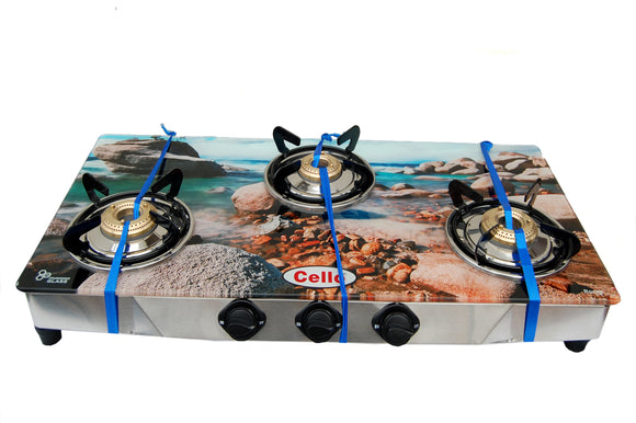 3 Burner Digital Toughened Glass Top Gas Stove (Rocks)