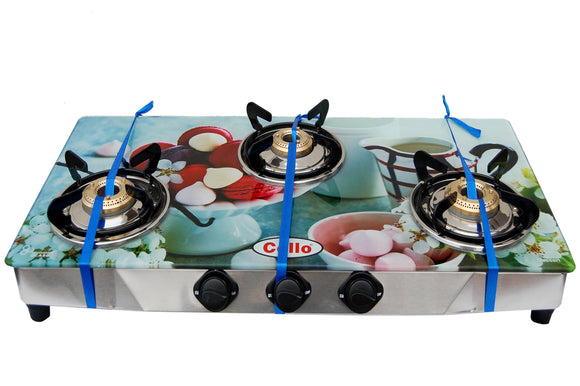 3 Burner Digital Toughened Glass Top Gas Stove (Dessert)