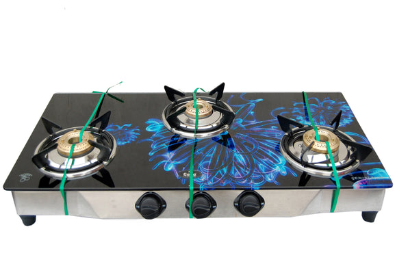 3 Burner Digital Toughened Glass Top Gas Stove (Gemini Blue)