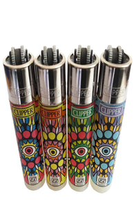 "US24 Multipurpose Lighter Bundle Pack - 4 Genuine Clipper Lighters""EYE MANDALAS"" Collection"