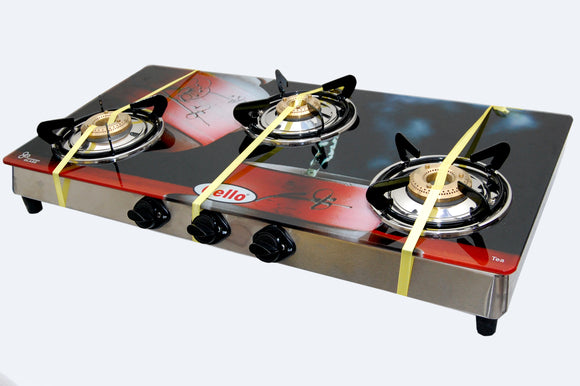 3 Burner Digital Toughened Glass Top Gas Stove (Tea)