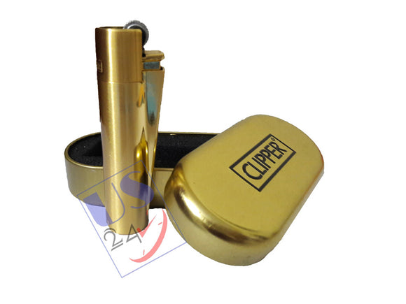 Clipper Metal Premium Lighter (Gold) with Box, Gold