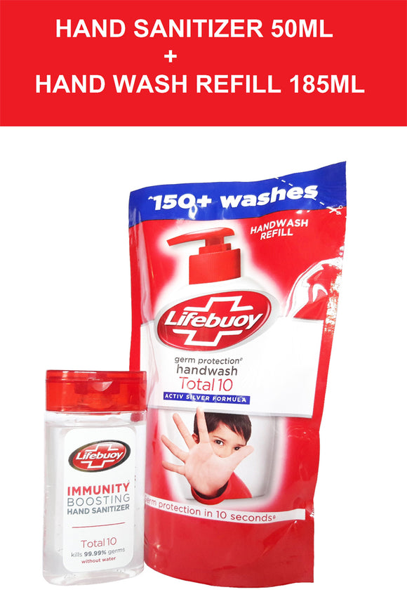 Lifebuoy Combo pack: Hand Sanitizer Total-10 (50Ml) with Hand Wash Refill (185ml) 1 each