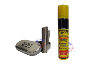 US24 Pack - Clipper Metal Premium Lighter, SILVER (1 pc) with Clipper Gas Refill Can 100ml (1pc)