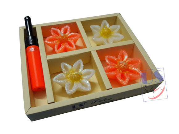 US24 Diwali Gift Pack - Clipper Refillable Lighter 1 pc with 4 no.s Floating Candles Assorted Color