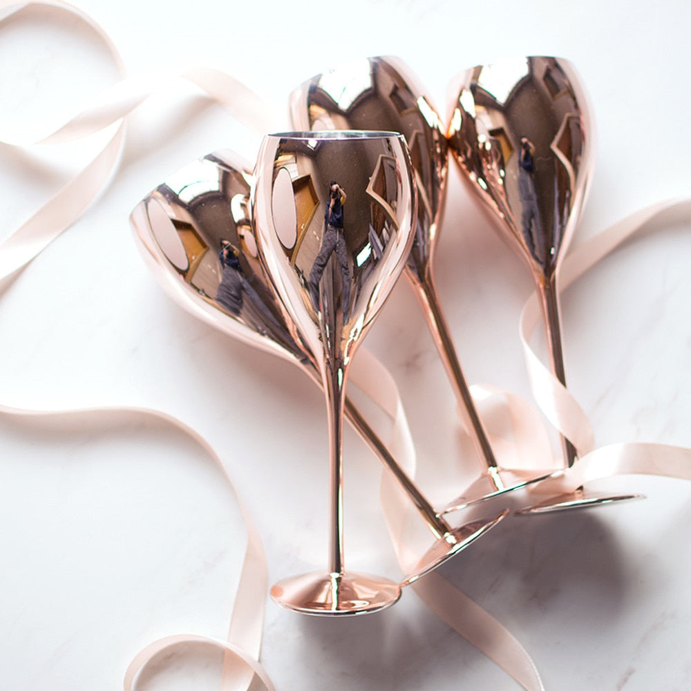 Rose Gold Crystal Goblets