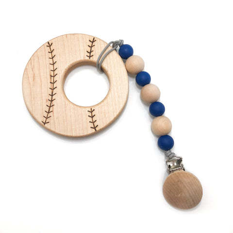 Wood Baseball Teether Clip