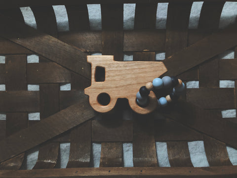 Wood Dump Truck Teether Ring