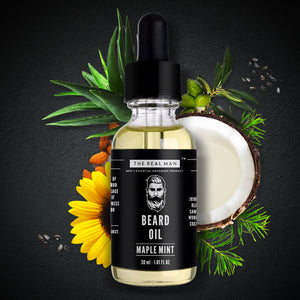 THE REAL MAN Men's Essential Grooming Maple Mint Beard Growth Oil, 30 ml