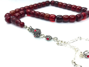 Vintage Ottoman Cherry German Bakelite Prayer Bead with 925 Tassel UK950 - Luxury R Visible