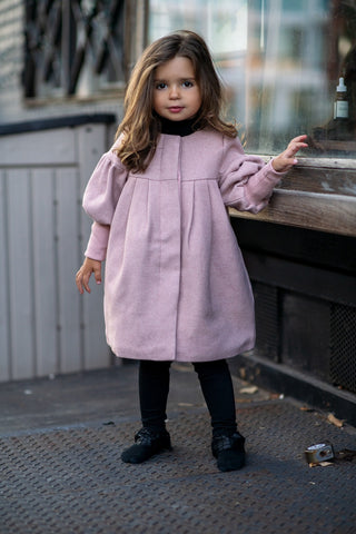Rib Sleeve Blush Pink Winter Coat