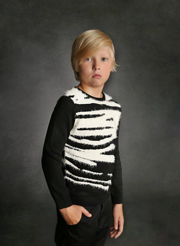 Zebra Long fur Knit Sweater
