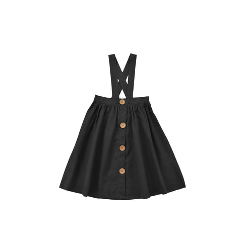 Suspender Big Buttons Skirt - Black