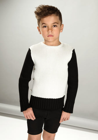 One Side Buttons Long Sleeve Sweater - White And Silver