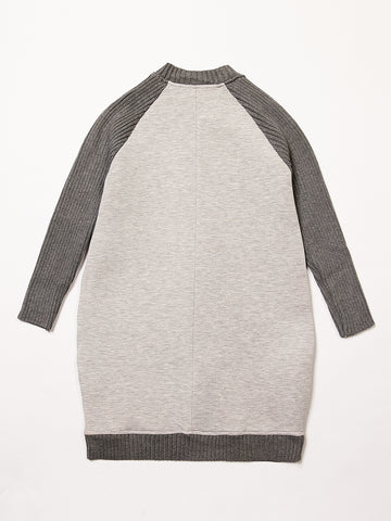 Light Grey Scuba Knit Sleeve Dress - Coral