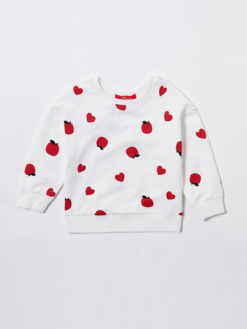 All Over Printed Apple and Heart Top