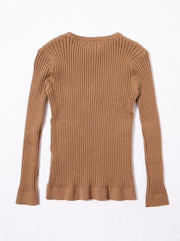 Round Neck Basic Sweater  - Camel