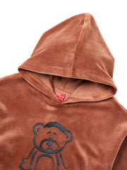 Printed Bear Velour Hooded Top - Camel