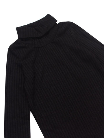 Rib Melange Turtleneck - Black