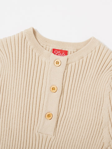 Basic Short Button Sweater - Sand