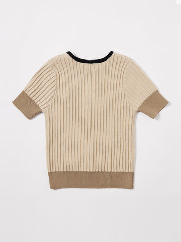 Short Sleeve Bib Buttons Sweater - Med. Beige
