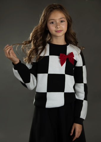 Big Squares Sweater (Detachable Bow)