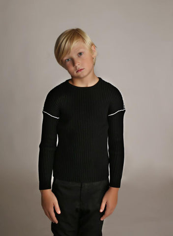 Black Dropped Shoulder Ribbed Sweater